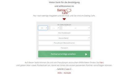 Dating Cafe - Anmeldung