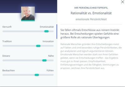 Zusammen.de - Persönlichkeitstest Ergebis