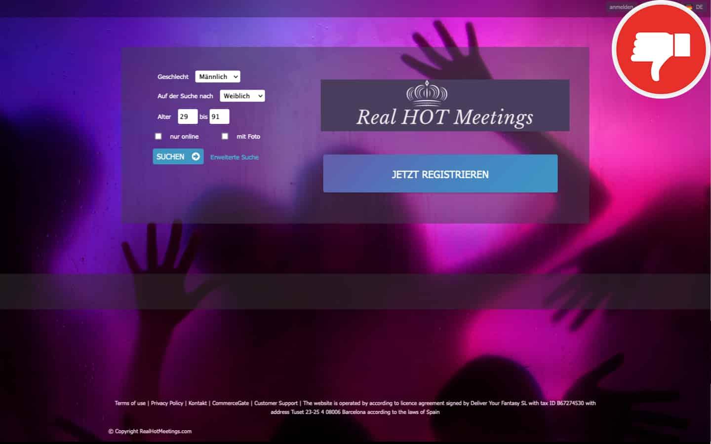 Testbericht RealHotMeetings.com Abzocke