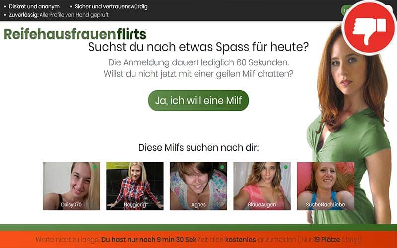 Testbericht ReifeHausfrauenFlirts.com Abzocke